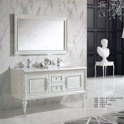 Muebles de madera de roble de estilo francés, lavabo de mármol doble Vanity