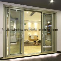 Патио Yika тройной двери из алюминия в топливораспределительной рампе двойной закаленного стекла боковой сдвижной двери с противомоскитные сетки