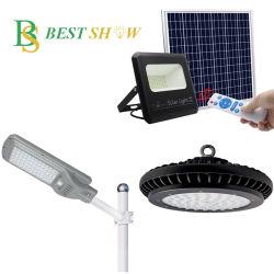 중국 공장 산업용 Tri-Proof Warehouse Solar 비상 50W 100W 200W 조광 가능한 도로 천장 투광 트랙은 잔디 벽 꼬리 스트리트를 자랍니다 UFO 하이 베이 LED 램프