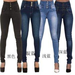 De grote Jeans van de Manier van de Meisjes van de Vrouw van de Rek van de Taille van de Grootte Hoge Slanke Elastische