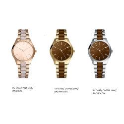 Hermoso reloj señora acero inoxidable con coloridos de la banda de partículas coloidales (001)