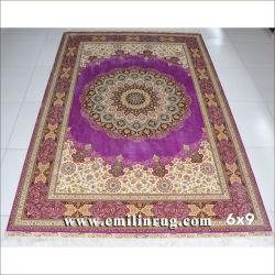 6X9 violet à la main la main de tapis persans à points noués en pure soie