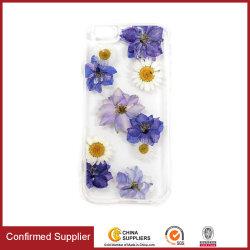 Secado de flores hechas a mano presiona Real Crystal Clear TPU Case Teléfono