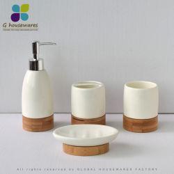 Бамбук керамическая ванная комната лосьон для тела SOAP диспенсер-водоочиститель мыло блюдо в простой мраморной