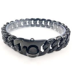El Diseñador de collar de perro de la cadena de la personalidad de 32mm de acero inoxidable pulido a mano ennegrecido Collar de Cadena de eslabones para perros grandes
