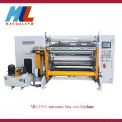 端のトリミング機能のMfj-1350高速自動Rewinderはのための、接着剤、テープ、フィルム、PVCのOPPのコイルの物質的な切断停止する