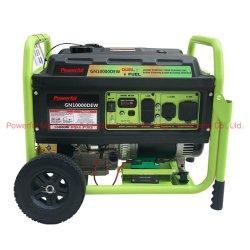 Neues leistungsfähiges Kraftstoff-Generator-Set des Duell-8kw mit Griff und Rädern durch Gasoline u. LPG/Erdgas-Motor (PG10000GL/GN)