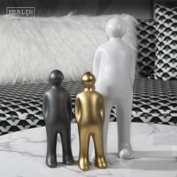 白い陶磁器の人間図彫刻の芸術の置物デザイン現代家庭内オフィスのアクセサリの磁器の金の彫像のホーム装飾の部分