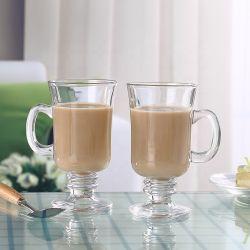 Chiavetta di vetro del gelato della tazza di frappè di vendita diretta della fabbrica con la maniglia