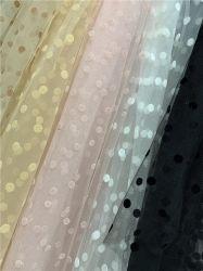 Impressão em preto de alta qualidade DOT floco de poliéster Warp padrão de pontos de tricô super brilhante tecido Sequin para vestir