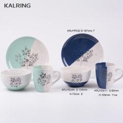 Keramik-Dinner-Set mit Becher 7'teller und 5'Schale mit Newbone China Material mit Halb- und Sesamglasur mit Kaffee-Design
