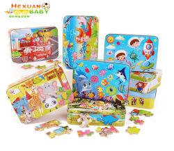 Non-Toxic 100PCS/Set Puzzle de madera Juguetes para Niños Los niños de educación temprana Cartoon Puzzle juguete (con caja de hierro) Chico Chica Don