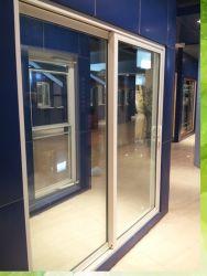 Doble acristalamiento de ventanas de aluminio color madera de teca con bastidor