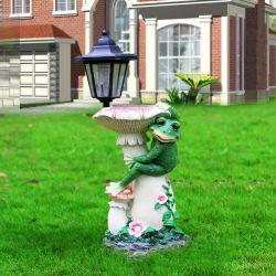 Frog Bird Feeder mit Solar Light Polyresin Craft