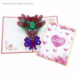 Tarjeta de felicitación al por mayor de las bendiciones en 3D 3D de impresión talla rosa Lily Pink Orchid Flower Festival hechas a mano la tarjeta de regalo San Valentín, Día de la madre