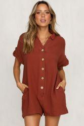 Camisa camisa Botón pantalones ropa mujer ropa de moda casual Jumpsuit
