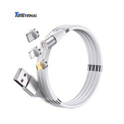 Tongyinhai 360 graus do cabo de dados de carregamento magnética de Silicone o plugue do conector do magneto micro USB para Luz Ning Tipo C linha Android Market