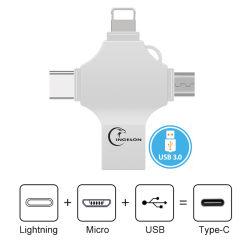 4 في 1 محرك أقراص محمول OTG USB سعة 16 جيجابايت و64 جيجابايت ذاكرة USB من النوع C سعة 128 جيجا بايت من النوع C للكمبيوتر الشخصي بنظام Android من iPhone