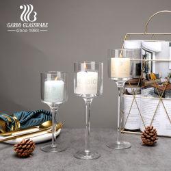 3pcs Ensemble élégant de grands chandeliers en verre, fait main Bougie en verre cristal clair Sticks Tealight bougeoir avec longue tige idéal pour dîner, mariage, partie