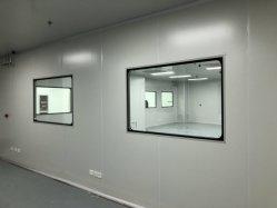 Projektspezifisch Modularer Reinraum für Hartwände, ISO5- ISO9, freistehender Edelstahlrahmen der Klasse 304, gehärtetes Glas.