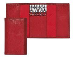 حامل مفاتيح سلسلة مفاتيح أحمر مصنوع يدويًا من جلد البقرة
