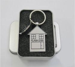 Цепочки ключей металлические дом USB-накопитель с формы размер памяти 8 ГБ 16ГБ