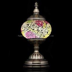 Tabela de mosaicos de vidro turcos artesanais luz com a lanterna de Mosaico (branco, amarelo)