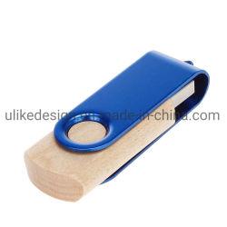 شعار محرك أقراص محمول Swivel USB محمول من الخشب سعة 8 جيجابايت وسعة 16 جيجابايت محرك أقراص USB خشبي
