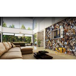 Большие настенные украшения в гостиной Вилла/новый дом роскошь Semi-Precious природного камня Агат слоя с коричневого цвета
