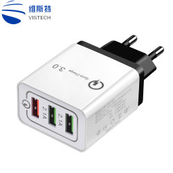 3 cargador USB tres puertos de carga rápida de pared cargador rápido QC3.0 Adaptador de cargador USB