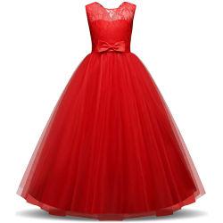 Meninas Pageant Ball Robes Kids Chiffon Bordados Vestido de festa de casamento