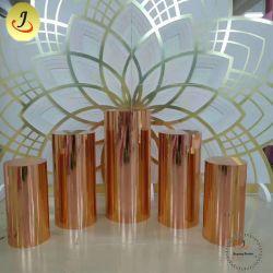 金結婚式のステンレス鋼の円形の通路の立場は花立場の贅沢の装飾をセットした