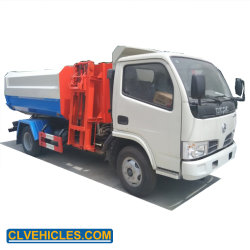 Dongfeng 4000L seitliche Ladevorrichtungs-anhebender Wannen-Abfall-LKW-hydraulischer Arm-Abfall-Ansammlungs-LKW