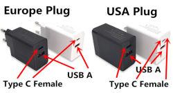 Um USB Tipo C doca portuária Us UE Pd 3.0 QC DO adaptador de alimentação
