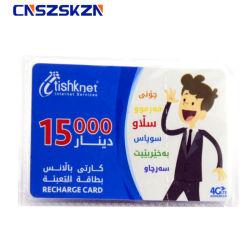 La personalización de PVC Impresión caliente Cr80 tamaño tarjeta de crédito tarjeta telefónica prepagada cero