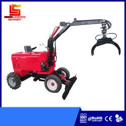 Petit jardin Jardin / Mini chargeuse du tracteur utilisé pour la vente de bois tractopelle grue Cheap 600kg/Excavatrice à roues 850kg 360° en tournant la rétropelle