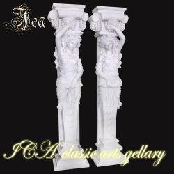 Schöner Marmorstatue-Garten-Pfosten der Dame-Model für Verkäufe