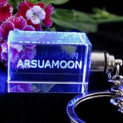 LED Keychain di cristallo Keychain di vetro con il marchio per il regalo promozionale
