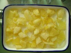 Pedaços de abacaxi conservas de ananás com sumo fresco