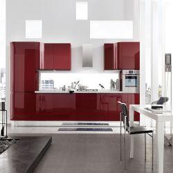Vendre laque rouge brillant moderne des armoires de cuisine