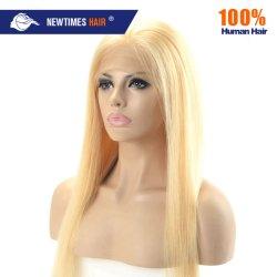 Pruik van het Kant van de Blonde van het Menselijke Haar Remy van 100% de Rechte Natuurlijke Voor Volledige voor Dame