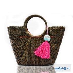 Les femmes de la Bohème de la plage d'été tissé en rotin de gros sac sac à main de paille