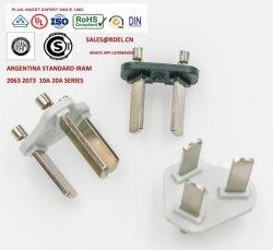 Argentinien-elektrische Stecker-Einlage-/Iram Wechselstrom-Stecker-Einlage 2063 2073
