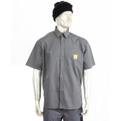 Kundenspezifisches einfacher Entwurfs-Arbeits-Kleid-bequemes Tasten-Schliessen-Kurzschluss-Hülsen-Arbeits-Hemd für Wartungsmonteure oder Personal-Uniform