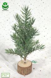 0,2-0.4m PE Arbre de Noël artificiel pour la décoration - Socle en bois rond avec de la glace