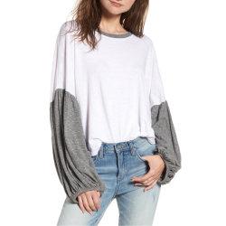 قميص مع قميص بألوان مبهمة من الأكمام بلوسون، قميص رياضي من الرينجبيل