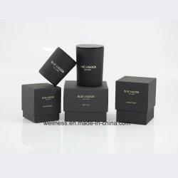 Parfum naturel artisanal de luxe 100 % de bougie de cire de soja dans le pot de verre noir