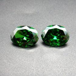 Pietre preziose della CZ colorate verde ovale all'ingrosso di figura del taglio di macchina