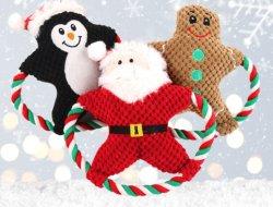 احتشد عيد ميلاد المسيح [سنتا] محبوبة شريكات عطلة كلب قطيفة لعب