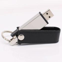 Logotipo do estilo de couro giratório Gravar o Pen Drive Flash USB com Chaveiro